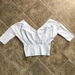 Anthropologie Maeve White Crop Top with Zipper